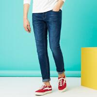 美特斯邦威旗下 4M牛仔裤男2018春季新品男精致洗水牛仔长裤