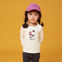 【1件2.5折到手价:24.8】moomoo童装女幼童T恤秋季新款女宝宝针织多彩可爱纯棉上衣