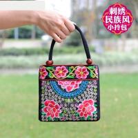 2018新款中老年女包民族风刺绣花包帆布小包中年女士双袋小手提包