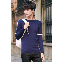 男士毛衣秋季套头针织衫青少年韩版毛线衣圆领打底外衣潮