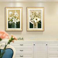 家居生活用品餐厅装饰画现代简约欧式饭厅餐桌背景墙挂画有框两联墙画花开富贵 60*80 /60*80