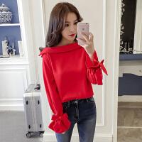 春装2018新款韩版甜美气质露肩一字领喇叭袖雪纺衫女长袖打底上衣