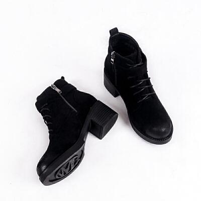 马丁靴女英伦风冬款2018新款百搭圆头加绒粗跟短筒靴子女短靴高跟