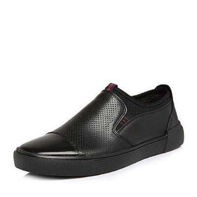 Belle/百丽2018夏新品专柜同款油皮小牛皮革/纺织品男皮鞋B9903BM8