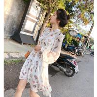 谜秀连衣裙女长袖2018春装新款韩版显瘦不规则雪纺碎花中长款裙子