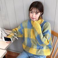2018春季新款韩版学生拼色格子半高领套头长袖宽松针织毛衣女上衣