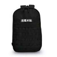 户外登山野营战术双肩包虎斑特种迷彩背包运动学生男女背 黑色 (送魔术贴