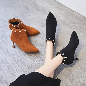 ZHR小短靴女春秋季2018新款黑色细跟裸靴尖头短筒女靴INS网红单靴