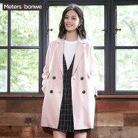 【1件3折到手价:37.5】美特斯邦威纯色中长款毛呢大衣女装冬季新款都市风时尚潮流外套