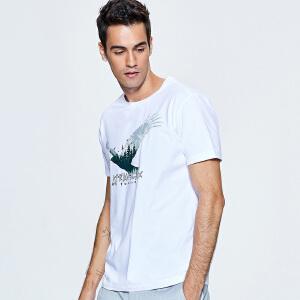 探路者短袖T恤男款 春夏户外男弹力吸湿排汗印花短袖T恤TAJG81827
