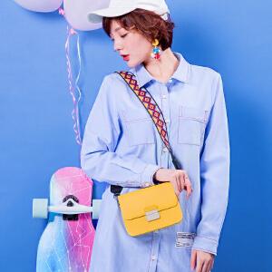 2017新款潮韩版百搭个性CHIC宽肩带时尚小方包单肩斜挎包迷你小包