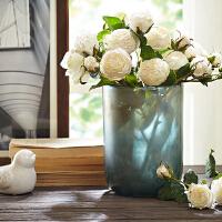 碗状圆柱形玻璃花瓶渐变色桌面装饰品创意家居摆件