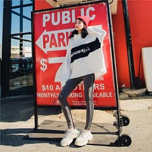 七格格白色卫衣2018新款女秋季韩版宽松拼色立领拉链运动长袖上衣