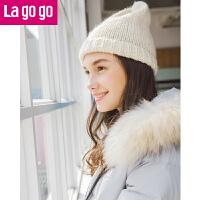 Lagogo/拉谷谷2017冬季新款时尚连帽羽绒服女中长款加厚外套潮