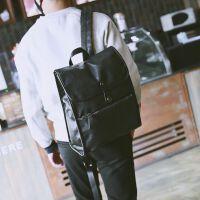韩版男双肩包商务英伦男士背包休闲皮包电脑包学生书包潮男旅行包 黑色