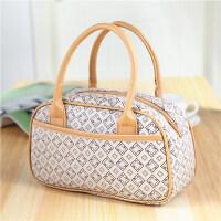 手提包韩版女包休闲包女士小包中老年包妈妈包逛街包 6号米白色四方格子