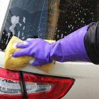 洗车手套冬天冬季洗碗洗衣服加绒加厚毛绒橡胶耐用牛筋棉 L