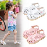 宝宝凉鞋女童包头凉鞋夏季新款软底学步鞋小童沙滩鞋子