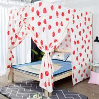 卡通印花床帘遮光单人双人家用蚊帐卧室3开门不锈钢床幔支架新品
