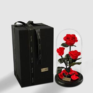【礼品卡+全店满减】幸阁 永生花 高玻璃罩玫瑰厄瓜多尔保鲜花成品礼盒PE006 顺丰包邮 情人节圣诞节生日礼物送女友创意礼品