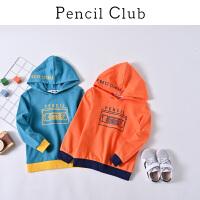【3折价:78】铅笔俱乐部童装2020春装新款男童连帽卫衣中大童长袖儿童休闲上衣