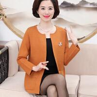 妈妈装秋装针织衫呢子外套40-50岁中老年女装短款中年开衫上衣薄