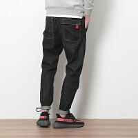 春季日系黑色牛仔裤男士大码韩版修身小脚哈伦长裤潮流显瘦男裤子 黑色
