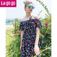 Lagogo拉谷谷2019夏季新款女一字领短袖碎花裙连衣裙沙滩裙长裙潮HALL304A22