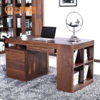 北欧篱笆北美黑胡桃木实木书桌办公桌带活动柜书架老板桌大班台
