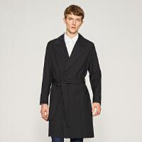 【1件3折到手价:212.7】MECITY男装韩版中长款系腰带风衣外套男潮