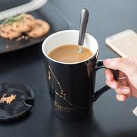 创意十二星座杯子陶瓷马克杯办公室水杯带盖勺骨瓷情侣咖啡杯茶杯jj6