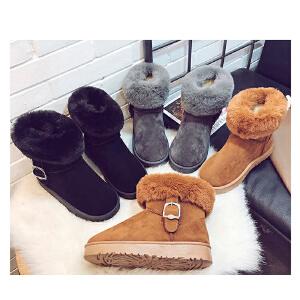 女式 秋冬季新款磨砂绒面毛毛装饰保暖平底雪地靴女靴