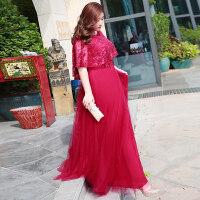 大码敬酒服200斤2018新款胖mm红色显瘦胖妹妹新娘结婚礼服女长款 酒红色