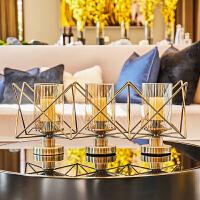 欧式金属铁艺玻璃烛台摆件家居餐厅创意实用样板房间软装饰品摆设 古铜色网格三连烛台
