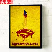 超人极简电影海报装饰画现代简约家居挂画卧室床头墙画壁画有框画