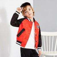 【1件2折到手价:89.8】米喜迪mecity童装春秋男童红色时尚织带拼接棒球领茄克外套