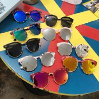 夏天韩国半框太阳墨镜大框女士太阳镜女士潮太阳眼镜圆形大框
