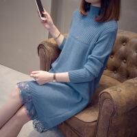 半高领打底连衣裙女春季2019新款女装韩版中长款针织毛衣裙过膝潮