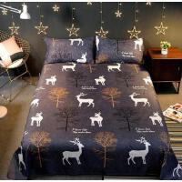 家庭结婚学院床单1.8米双人床单男生加宽军绿色老人好看铺床碎花