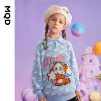 【2件3折后价:150】MQD童装女童满版卡通针织衫21秋装新款儿童翻领polo毛衣洋