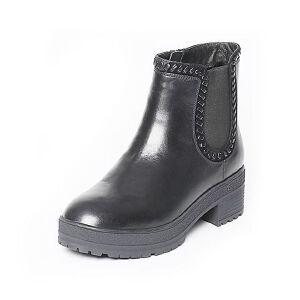 Tata/他她冬季黑色时尚编织风休闲女皮靴FI640DD6