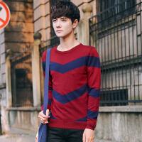 秋季圆领针织衫男士毛衣长袖T恤男韩版潮流毛线衣服条纹青年打底衫 毛线