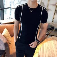 男士短袖T恤韩版针织衫套头英伦打底衫半袖毛衣男圆领毛线衣薄款
