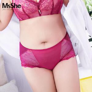 MsShe加大码新款中腰弹力人棉拼接蕾丝三角裤内裤M1730528