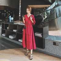 红色连衣裙2020新款女装夏天长款法式复古收腰显瘦V领裙子赫本风