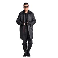 多功能羊绒保安大衣 男士 抗寒保暖加长加厚 黑色