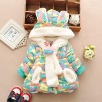 0-1-2-3岁婴幼儿女宝宝冬装女童加绒加厚保暖棉衣外套迷彩连帽