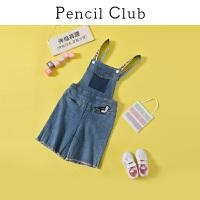【3折价:77.7】铅笔俱乐部童装2020夏装女童背带短裤中大童牛仔背带裤儿童裤子