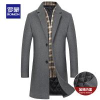 【3折到手价:328】Romon/罗蒙毛呢大衣男中年加棉厚大衣中长款羊毛大衣保暖毛呢外套
