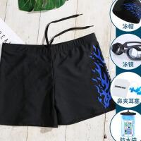 泳裤男防尴尬 五分平角温泉大码泳衣装备男士游泳裤泳镜套装